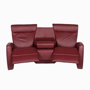Rotes Vintage 3-Sitzer Ledersofa von Himolla