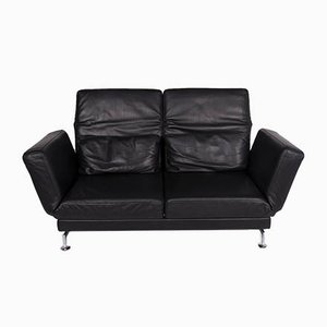 Vintage Black Leather Model Moule 2-Seater Sofa by Brühl & Sippold for Brühl & Sippold