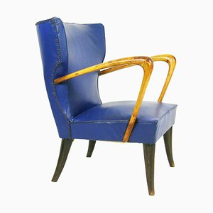 Italian Blue Skai and Wood Armchair, 1950s