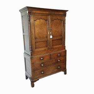 Antique English Oak Linen Press
