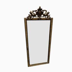Antiker Spiegel mit geschwärztem Holzrahmen