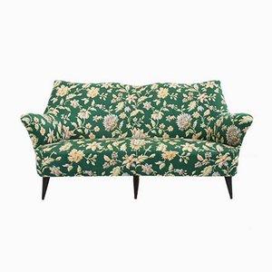 Grünes italienisches Sofa mit Satinbezug von ISA Bergamo, 1950er