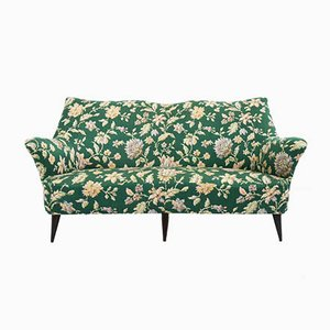 Italian Green Satin Sofa from ISA Bergamo, 1950s