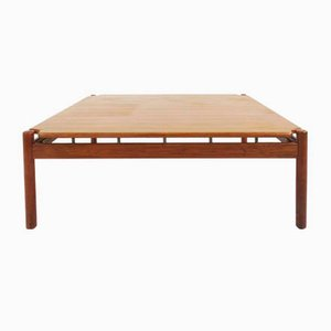 Grande Table Basse en Teck et Laiton par Ilmari Tapiovaara pour La Permanente Mobili Cantù, 1950s