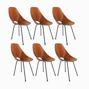 Teak Model Medea Dining Chairs by Vittorio Nobili for Fratelli Tagliabue, 1950s, Set of 6