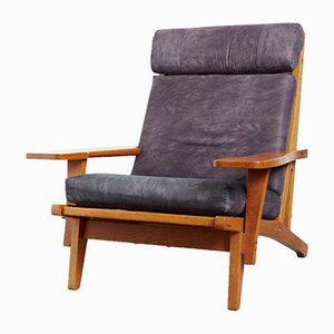 Danish Oak Model GE-375 Lounge Chair by Hans J. Wegner for Getama, 1970s