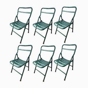 Industrial Iron Folding Chairs, 1970s, Set of 6