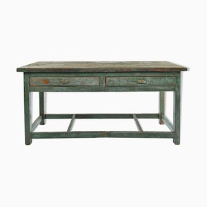 Patinated Wooden Dining Table, 1940s