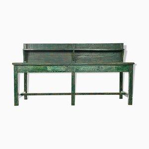 Mesa de trabajo de madera patinada, años 40
