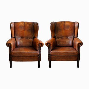 Leather Wing Lounge Chairs, 1980s, Set of 2
