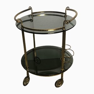 Vintage Brass & Smoked Glass Trolley from Maison Baguès