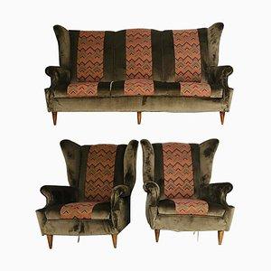 Juego de sofá y butacas vintage de terciopelo marrón, años 50