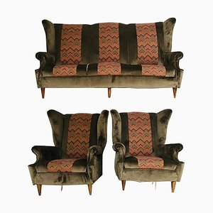 Vintage Brown Velvet Sofa and Armchairs Set, 1950s