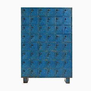 Mobiletto da laboratorio in metallo blu, anni '40
