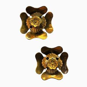 Applique a forma di fiore di Lars Holmström per Arvika, anni '50, set di 2