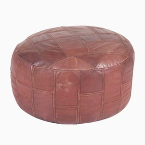 Vintage Leather Pouf, 1970s