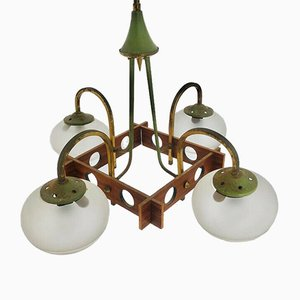 Vintage Scandinavian Metal, Brass, and Wood 4-Arm Chandelier, 1970s