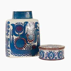 Vaso Mid-Century in porcellana con scodella di Berte Jessen per Royal Copenhagen