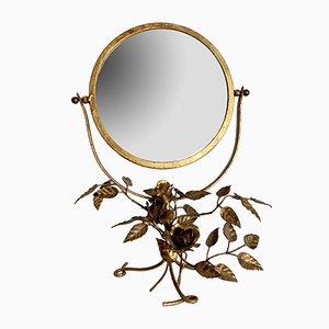 Specchio da tavolo Mid-Century in metallo dorato, Italia