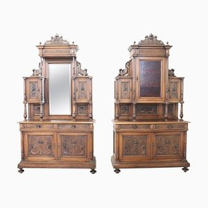 Antique Renaissance Style Walnut Sideboards, Set of 2