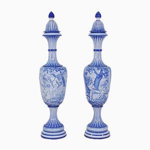 Große italienische Majolika Amphoren in Blau von Santarelli, 1950er, 2er Set