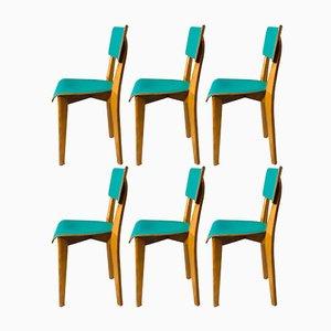 Französische Beistellstühle, 1950er, 6er Set