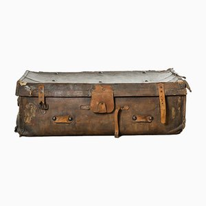 Vintage Dutch Leather Suitcase, 1930s