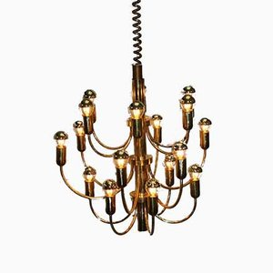 Large Hollywood Regency Golden Chandelier by Gaetano Sciolari for Boulanger France, 1960s