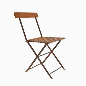 Metal and Wood Folding Chair, 1940s