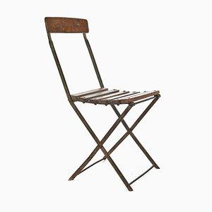 Sedia pieghevole in metallo e legno, anni '40