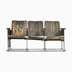 Sillas de cine de madera oscura, años 40