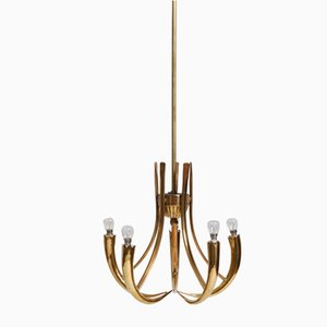Mid-Century Brass Ceiling Lamp by Oscar Torlasco