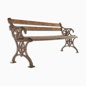Wood and Cast Iron Bench, 1940s