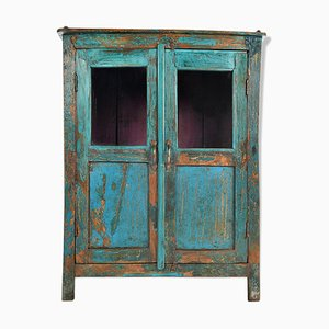 Patinated Wood and Glass Cabinet, 1940s