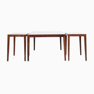 Tables Basses en Palissandre par Severin Hansen pour Haslev Møbelsnedkeri, 1960s, Set de 3