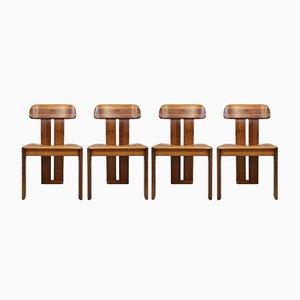 Deckenlampen aus Holz & Leder von Ignazio Gardella für Azucena, 1950er, 4er Set