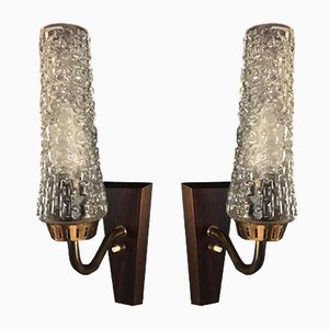 Rosewood & Brass Sconces, 1960s, Set of 2