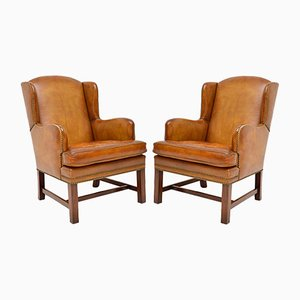 Vintage Swedish Leather Wingback Armchairs, 1950s, Set of 2