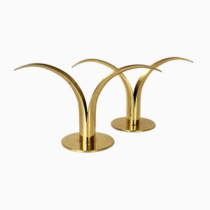 Mid-Century Scandinavian Brass Model Lily Candleholders by Ivar Ålenius Björk for Ystad-Metall, Set of 2