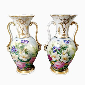 Porcelain Vases Porcelains de Paris, Set of 2