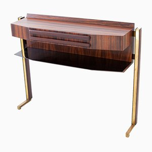 Italian Brass & Rosewood Console Table, 1950s