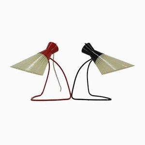 Lampes de Bureau en Verre par Josef Hurka pour Napako, 1960s, Set de 2