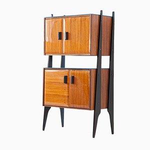 Mueble italiano de palisandro, vidrio y latón, años 50