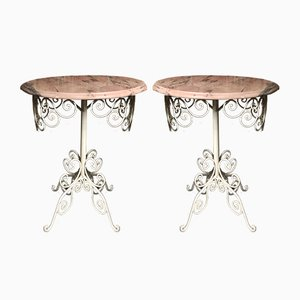 Wrought Iron & Marble Side Tables, 1980s, Set of 2