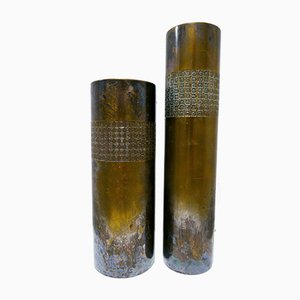 Brutalist Vases by Mario Pinton for Atelier des Orfevres, 1960s, Set of 2