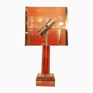Lampada da tavolo in metallo e plexiglas di Romeo Rega, anni '70