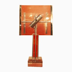 Metal & Plexiglass Table Lamp by Romeo Rega, 1970s