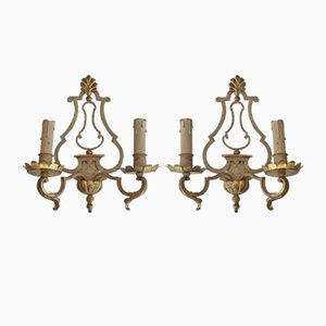 Painted and Gilt Wrought Iron Sconces, 1940s, Set of 2