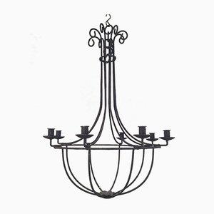 Lámpara de araña de hierro forjado, años 70