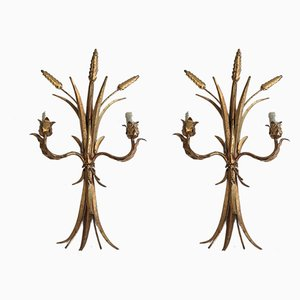 Gilt Iron Sconces, 1970s, Set of 2